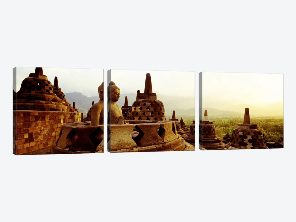 Indonesia, Java, Borobudur Temple by Panoramic Images 3-piece Canvas Art