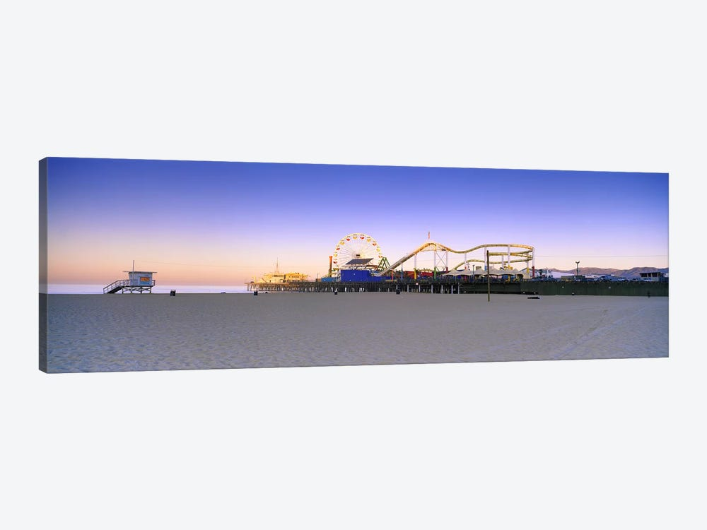 Ferris wheel lit up at duskSanta Monica Beach, Santa Monica Pier, Santa Monica, Los Angeles County, California, USA by Panoramic Images 1-piece Canvas Print