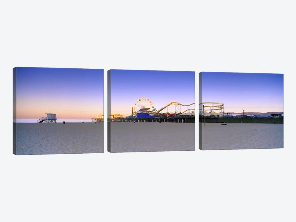 Ferris wheel lit up at duskSanta Monica Beach, Santa Monica Pier, Santa Monica, Los Angeles County, California, USA by Panoramic Images 3-piece Art Print
