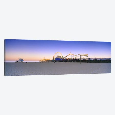 Ferris wheel lit up at duskSanta Monica Beach, Santa Monica Pier, Santa Monica, Los Angeles County, California, USA Canvas Print #PIM8758} by Panoramic Images Art Print