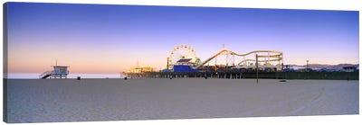 Ferris wheel lit up at duskSanta Monica Beach, Santa Monica Pier, Santa Monica, Los Angeles County, California, USA Canvas Art Print