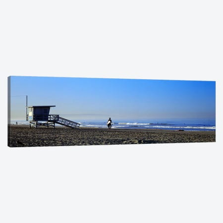 Rear view of a surfer on the beach, Santa Monica, Los Angeles County, California, USA Canvas Print #PIM8760} by Panoramic Images Canvas Wall Art