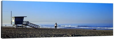 Rear view of a surfer on the beach, Santa Monica, Los Angeles County, California, USA Canvas Print #PIM8760