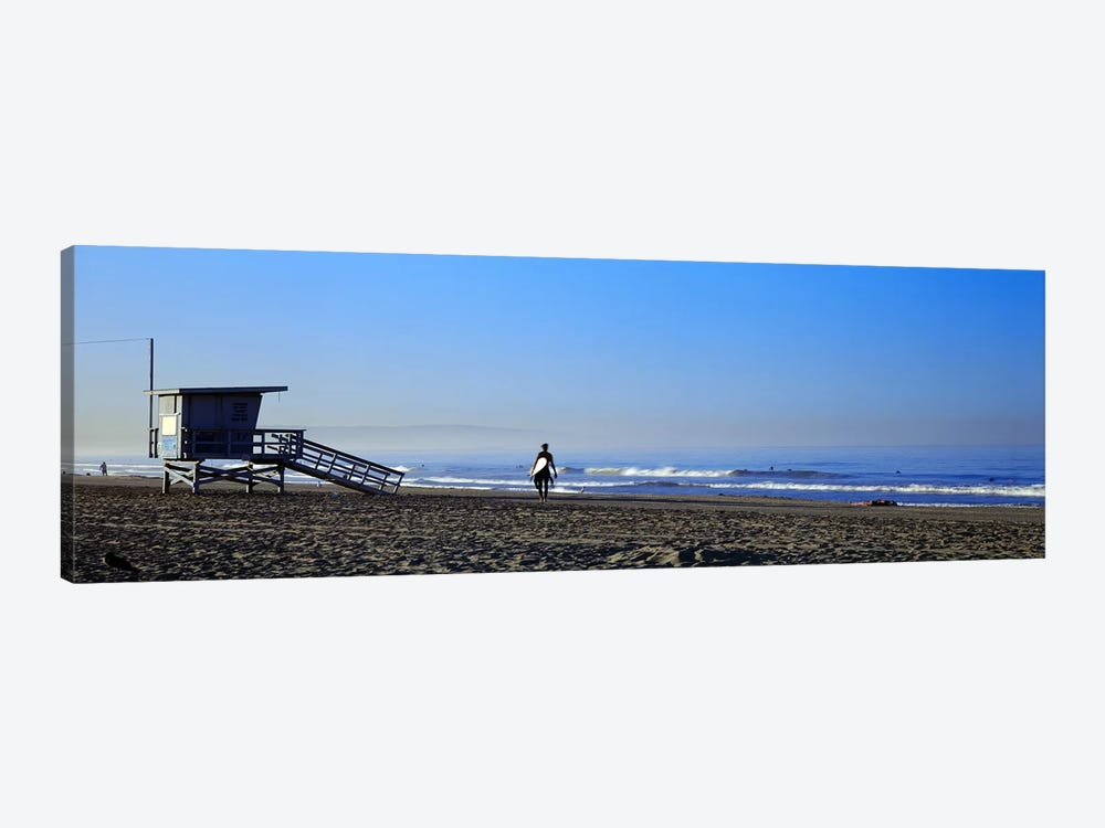Rear view of a surfer on the beach, Santa Monica, Los Angeles County, California, USA by Panoramic Images 1-piece Canvas Artwork