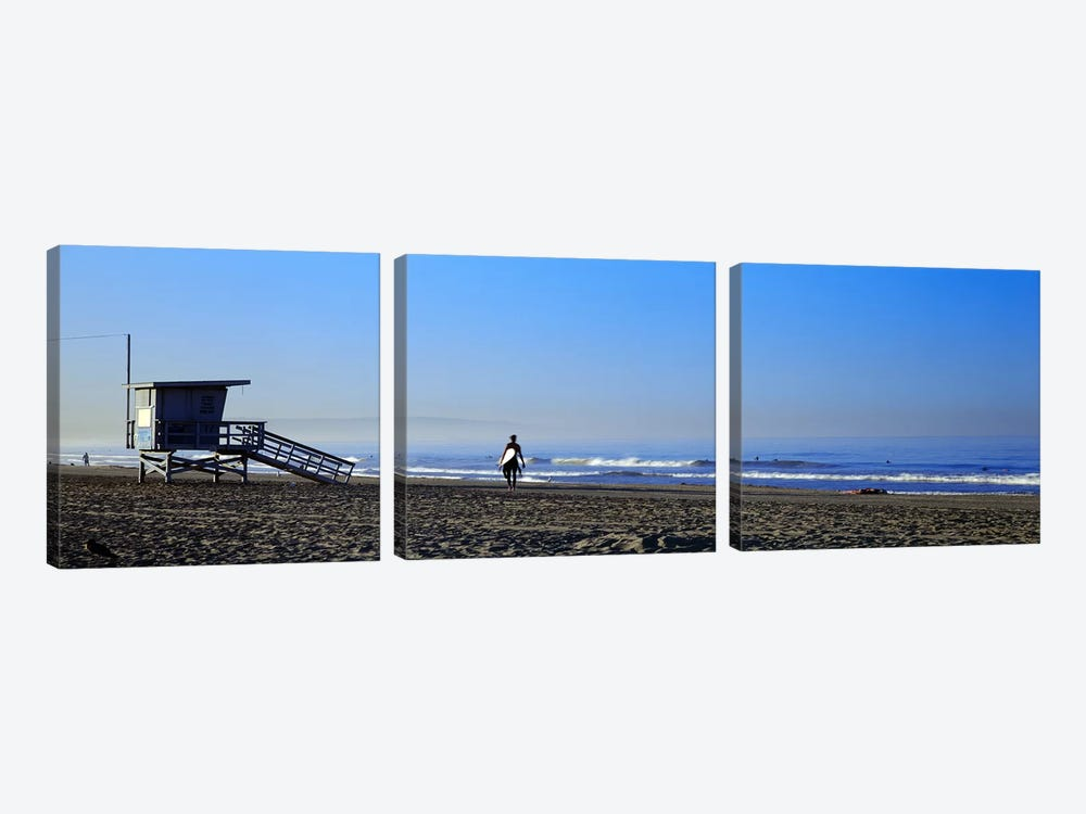 Rear view of a surfer on the beach, Santa Monica, Los Angeles County, California, USA by Panoramic Images 3-piece Canvas Artwork