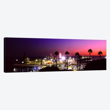 Amusement park lit up at night, Santa Monica Beach, Santa Monica, Los Angeles County, California, USA Canvas Print #PIM8761} by Panoramic Images Canvas Wall Art