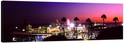 Amusement park lit up at night, Santa Monica Beach, Santa Monica, Los Angeles County, California, USA Canvas Print #PIM8761