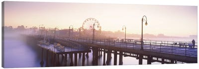 Pier with ferris wheel in the background, Santa Monica Pier, Santa Monica, Los Angeles County, California, USA Canvas Art Print