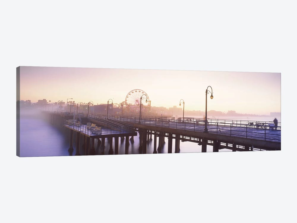 Pier with ferris wheel in the background, Santa Monica Pier, Santa Monica, Los Angeles County, California, USA by Panoramic Images 1-piece Canvas Artwork