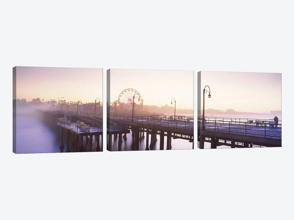 Pier with ferris wheel in the background, Santa Monica Pier, Santa Monica, Los Angeles County, California, USA by Panoramic Images 3-piece Canvas Artwork