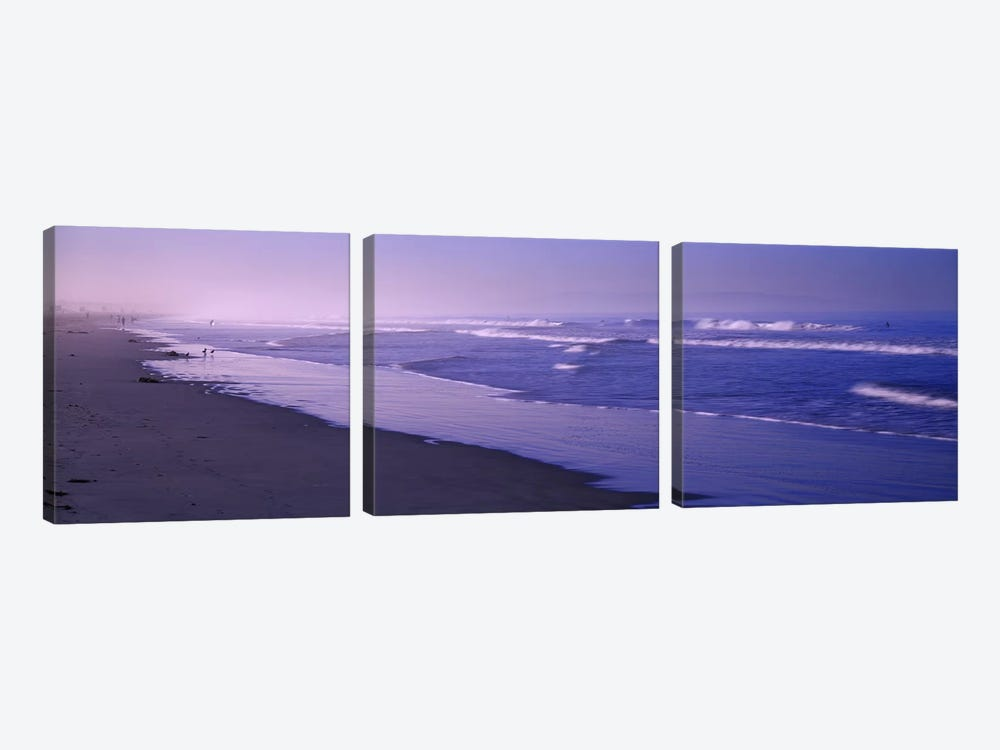 Surf on the beach, Santa Monica, Los Angeles County, California, USA by Panoramic Images 3-piece Canvas Print