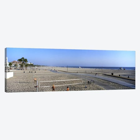 Tourists playing volleyball on the beach, Santa Monica, Los Angeles County, California, USA Canvas Print #PIM8764} by Panoramic Images Art Print