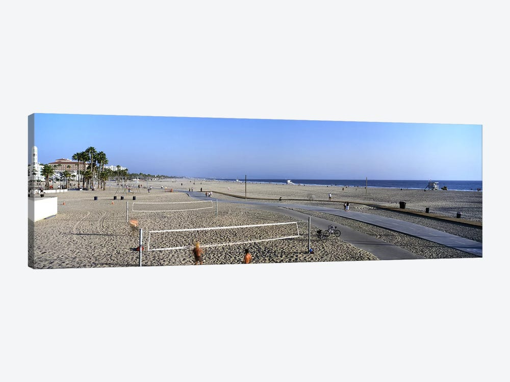 Tourists playing volleyball on the beach, Santa Monica, Los Angeles County, California, USA by Panoramic Images 1-piece Canvas Art