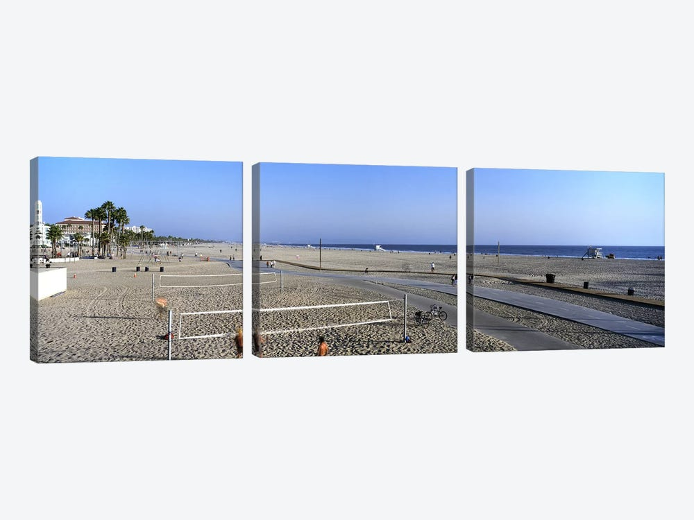 Tourists playing volleyball on the beach, Santa Monica, Los Angeles County, California, USA by Panoramic Images 3-piece Canvas Artwork