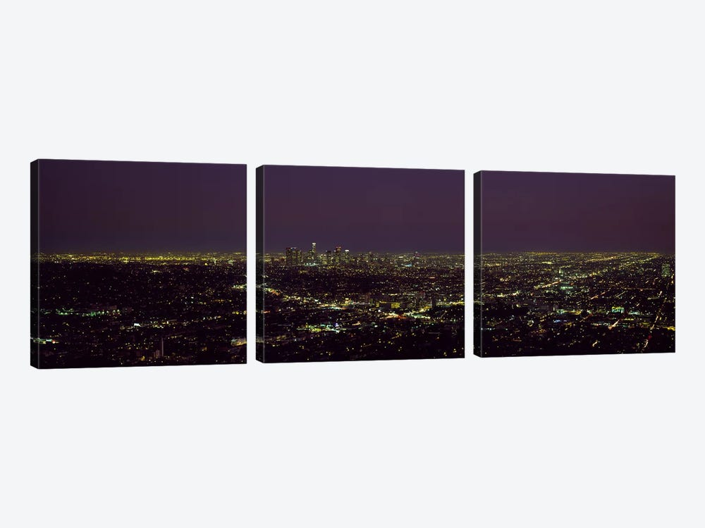 High angle view of a cityscape, Los Angeles, California, USA 3-piece Canvas Print