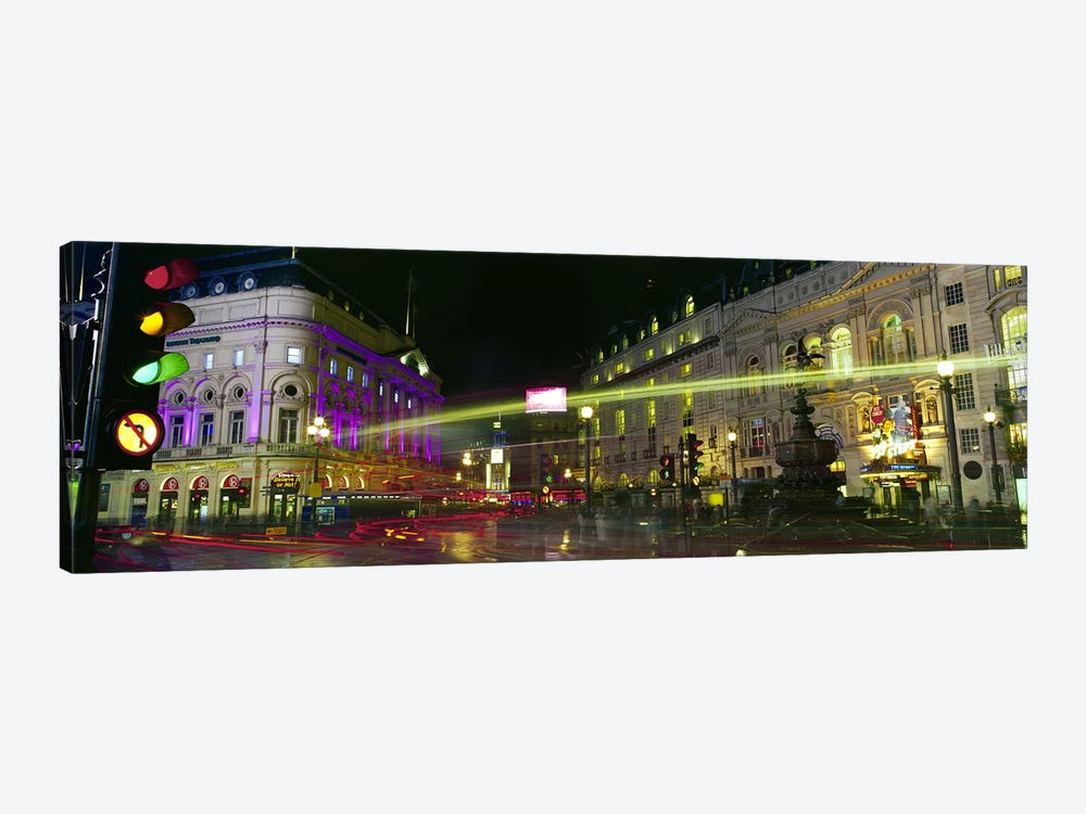 Blurred Motion View Of Nighttime Lights, Piccadilly Circus, London, England by Panoramic Images 1-piece Canvas Art Print
