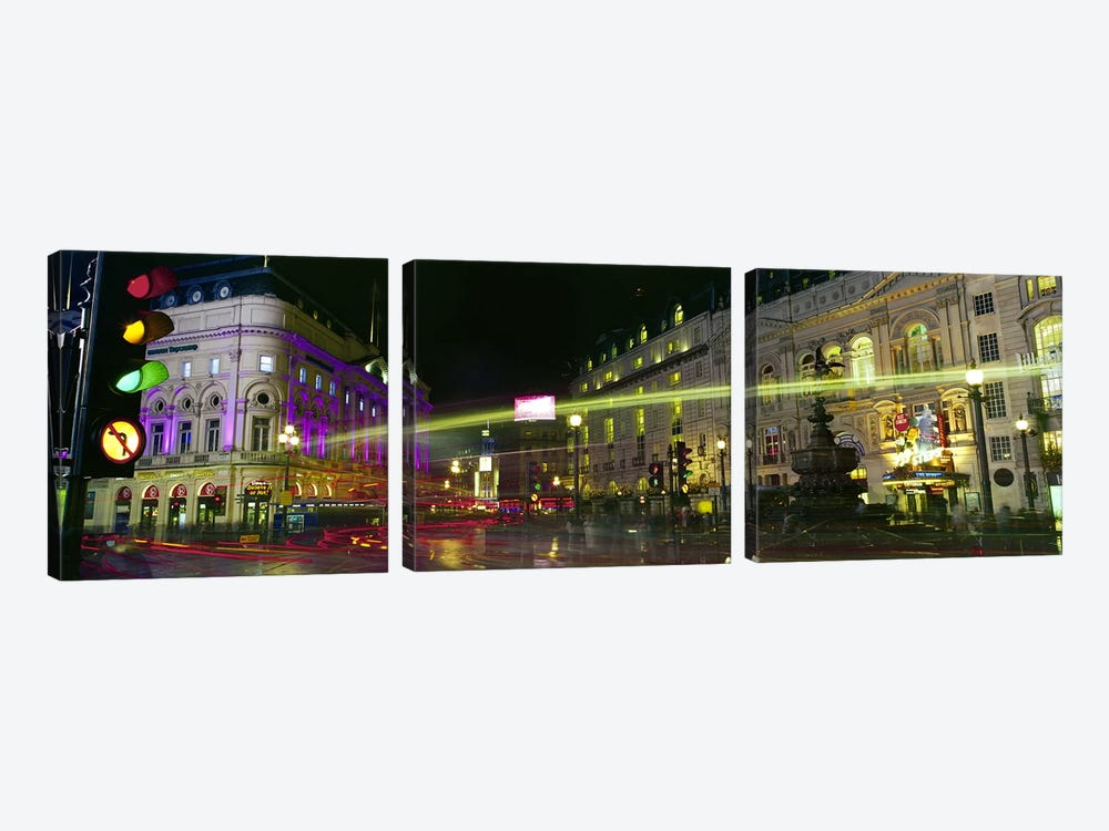 Blurred Motion View Of Nighttime Lights, Piccadilly Circus, London, England by Panoramic Images 3-piece Canvas Print