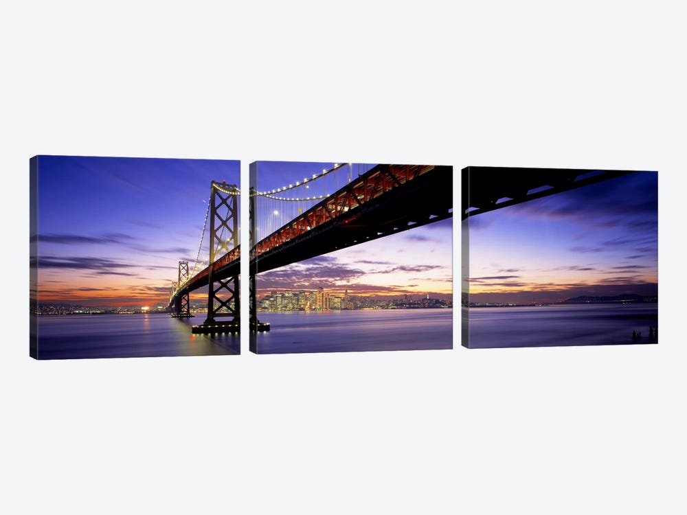 Twilight, Bay Bridge, San Francisco, California, USA by Panoramic Images 3-piece Canvas Wall Art