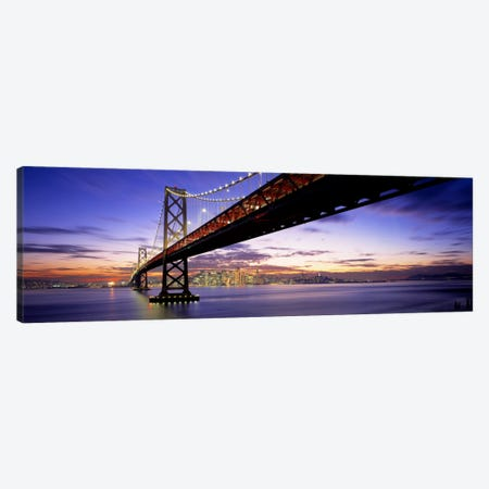 Twilight, Bay Bridge, San Francisco, California, USA Canvas Print #PIM876} by Panoramic Images Canvas Art