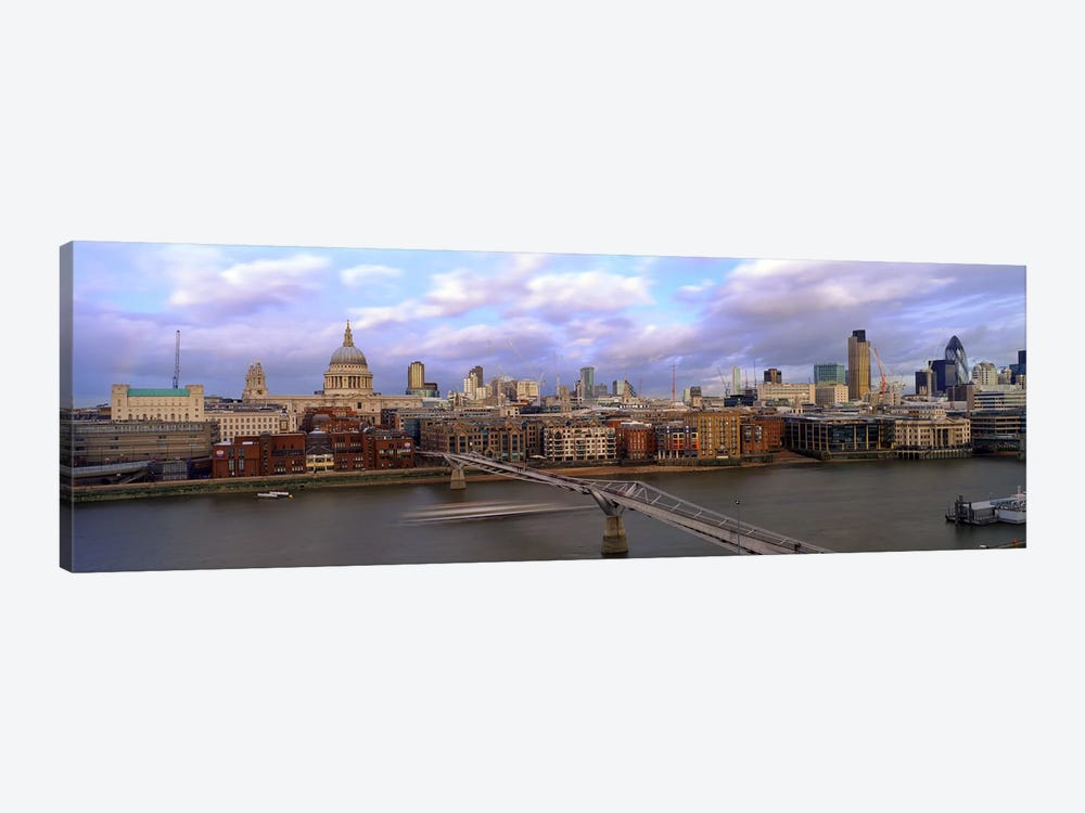 Bridge across a riverLondon Millennium Footbridge, St. Paul's Cathedral, London, England by Panoramic Images 1-piece Canvas Wall Art