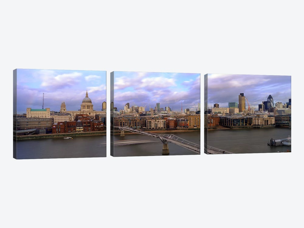 Bridge across a riverLondon Millennium Footbridge, St. Paul's Cathedral, London, England by Panoramic Images 3-piece Canvas Artwork