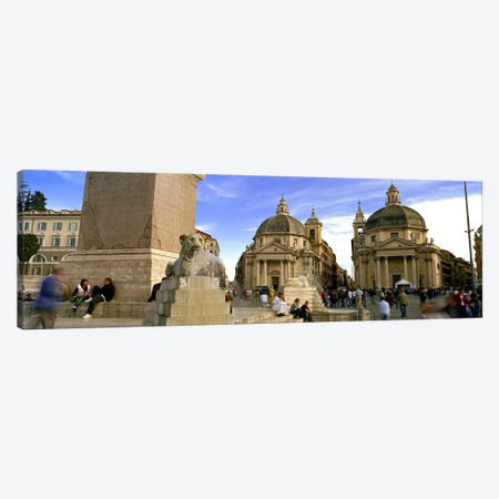 Tourists in front of churches, Santa Maria Dei Miracoli, Santa Maria Di Montesanto, Piazza Del Popolo, Rome, Italy Canvas Print #PIM8794} by Panoramic Images Canvas Art