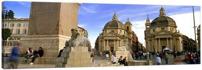 Tourists in front of churches, Santa Maria Dei Miracoli, Santa Maria Di Montesanto, Piazza Del Popolo, Rome, Italy Canvas Print #PIM8794