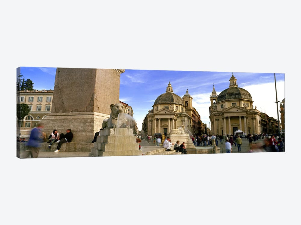 Tourists in front of churches, Santa Maria Dei Miracoli, Santa Maria Di Montesanto, Piazza Del Popolo, Rome, Italy by Panoramic Images 1-piece Canvas Art Print