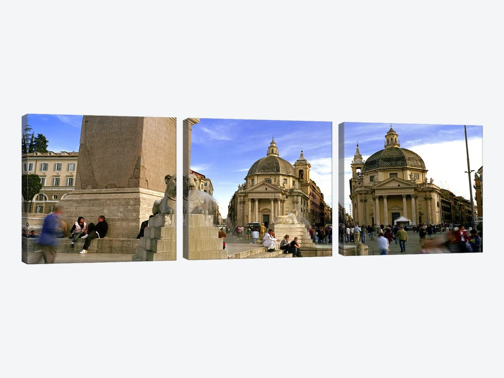 Tourists in front of churches, Santa Maria Dei Miracoli, Santa Maria Di Montesanto, Piazza Del Popolo, Rome, Italy by Panoramic Images 3-piece Canvas Art Print