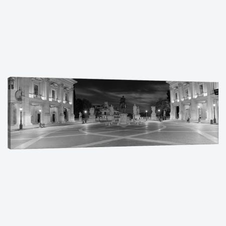 Marcus Aurelius Statue at a town square, Piazza del Campidoglio, Capitoline Hill, Rome, Italy (black & white) Canvas Print #PIM8797bw} by Panoramic Images Canvas Wall Art