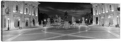 Marcus Aurelius Statue at a town square, Piazza del Campidoglio, Capitoline Hill, Rome, Italy (black & white) Canvas Print #PIM8797bw