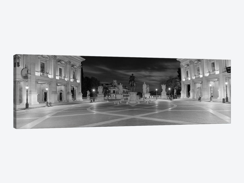 Marcus Aurelius Statue at a town square, Piazza del Campidoglio, Capitoline Hill, Rome, Italy (black & white) by Panoramic Images 1-piece Art Print