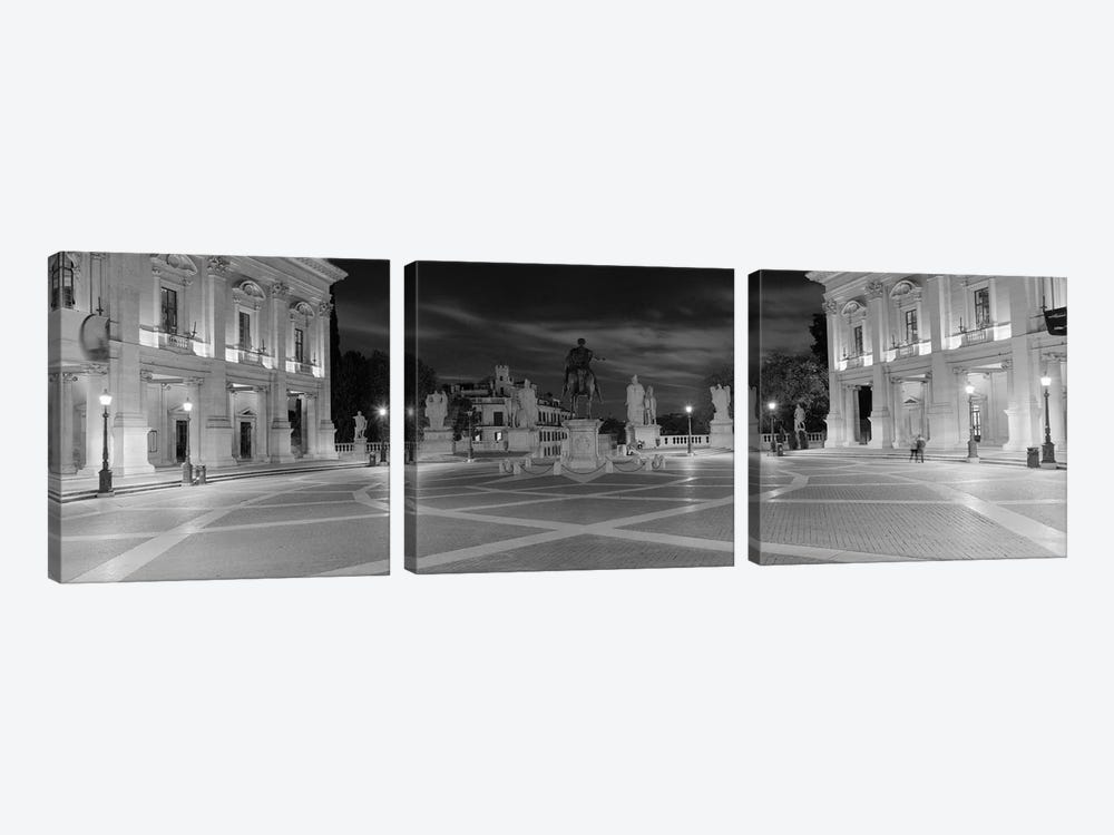 Marcus Aurelius Statue at a town square, Piazza del Campidoglio, Capitoline Hill, Rome, Italy (black & white) by Panoramic Images 3-piece Canvas Art Print