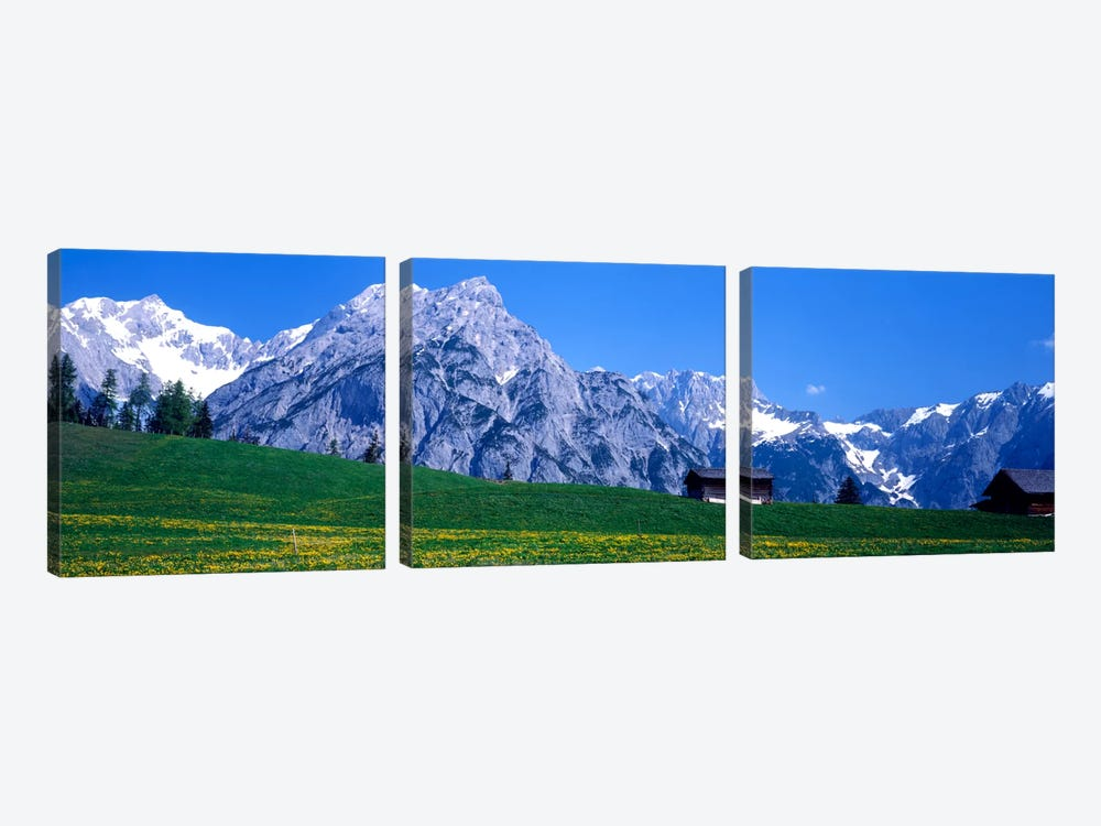 Alpine Pasture Landscape, Karwendel, Northern Limestone Alps, Tyrol, Austria by Panoramic Images 3-piece Canvas Art Print