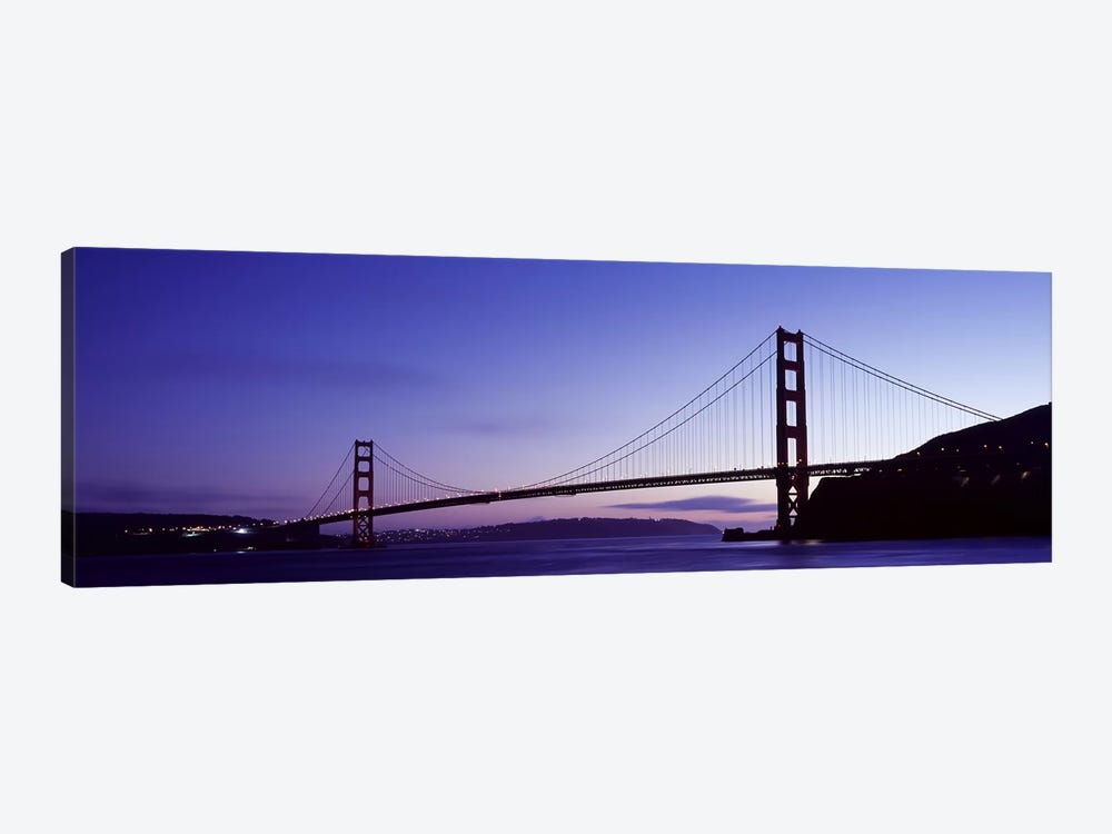 Silhouette of suspension bridge across a bay, Golden Gate Bridge, San Francisco Bay, San Francisco, California, USA by Panoramic Images 1-piece Art Print