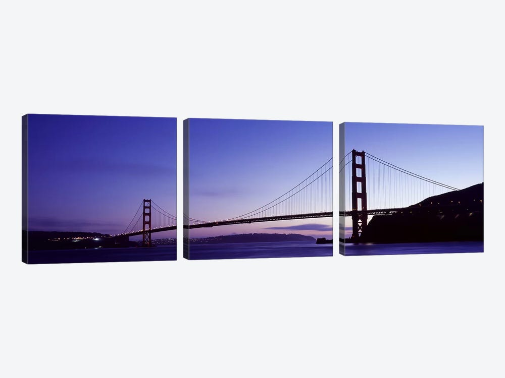 Silhouette of suspension bridge across a bay, Golden Gate Bridge, San Francisco Bay, San Francisco, California, USA by Panoramic Images 3-piece Art Print