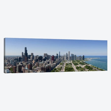 City skyline from south end of Grant Park, Chicago, Lake Michigan, Cook County, Illinois 2009 Canvas Print #PIM8819} by Panoramic Images Canvas Artwork