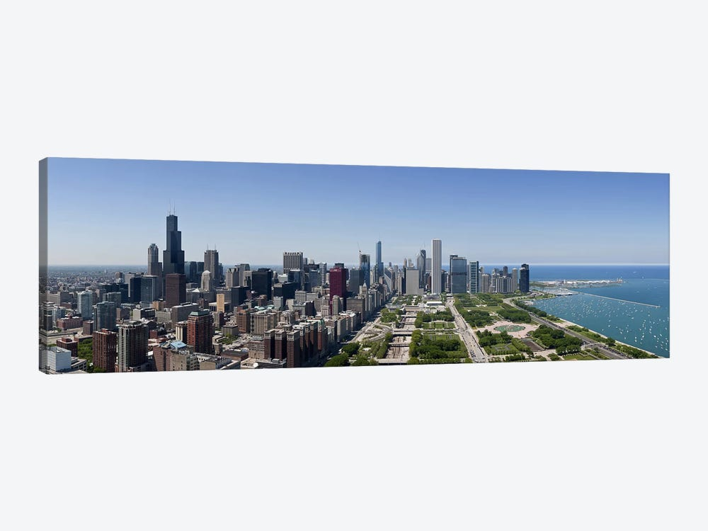 City skyline from south end of Grant Park, Chicago, Lake Michigan, Cook County, Illinois 2009 by Panoramic Images 1-piece Canvas Art