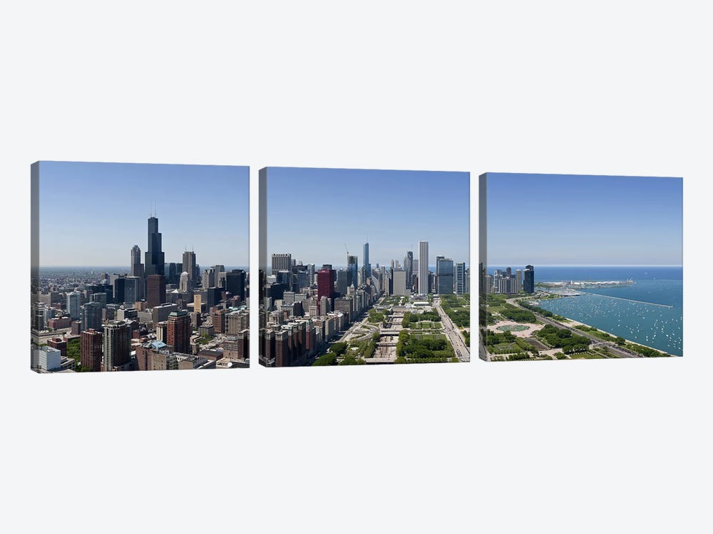 City skyline from south end of Grant Park, Chicago, Lake Michigan, Cook County, Illinois 2009 by Panoramic Images 3-piece Canvas Art