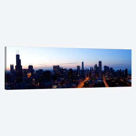 High angle view of a city at dusk, Chicago, Cook County, Illinois, USA 2009 Canvas Print #PIM8820} by Panoramic Images Canvas Print