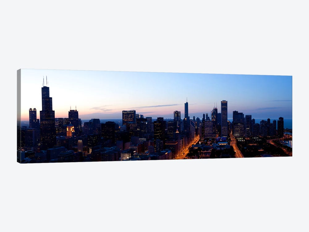 High angle view of a city at dusk, Chicago, Cook County, Illinois, USA 2009 by Panoramic Images 1-piece Canvas Art