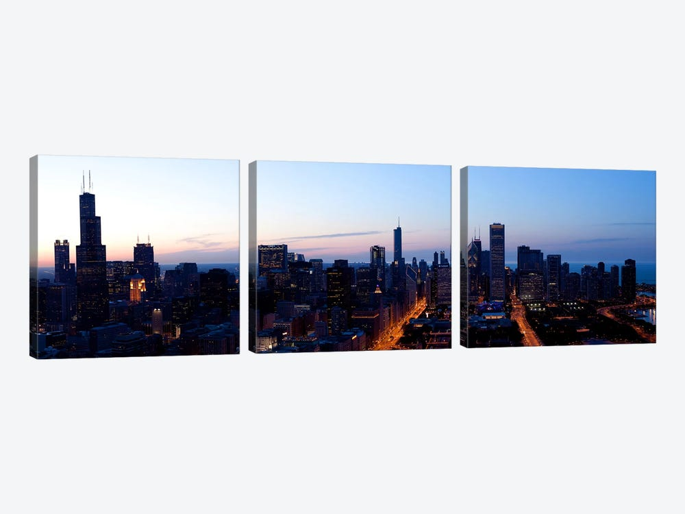 High angle view of a city at dusk, Chicago, Cook County, Illinois, USA 2009 by Panoramic Images 3-piece Canvas Wall Art