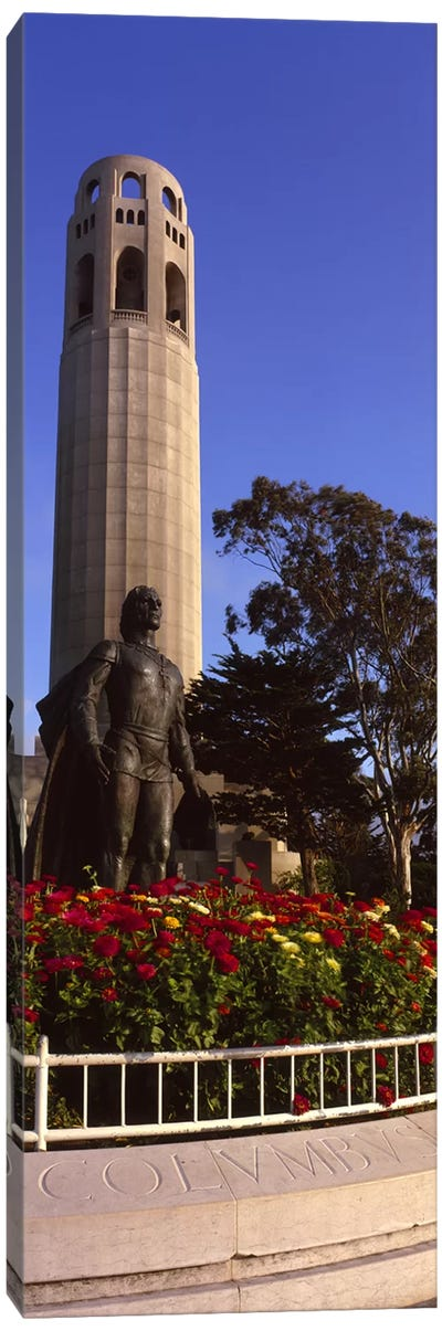 Statue of Christopher Columbus in front of a tower, Coit Tower, Telegraph Hill, San Francisco, California, USA Canvas Print #PIM8822