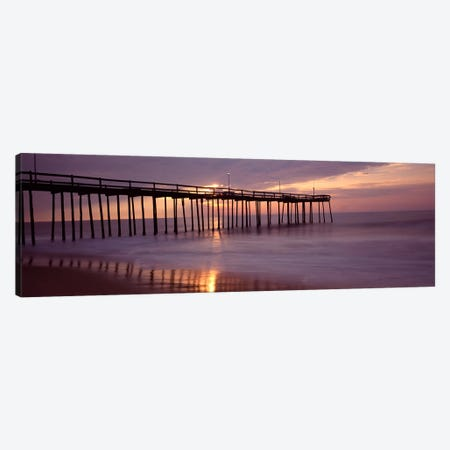Cloudy Sunset Over A Pier, Ocean City, Worcester County, Maryland, USA Canvas Print #PIM8827} by Panoramic Images Canvas Artwork