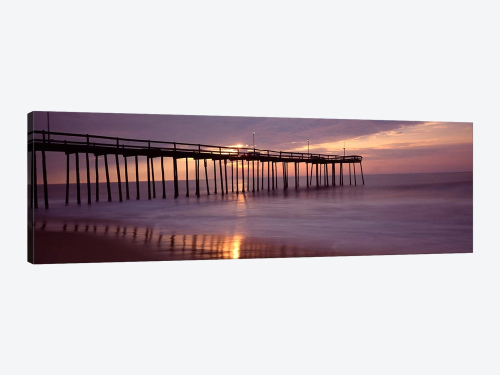 Cloudy Sunset Over A Pier, Ocean City, Worcester County, Maryland, USA by Panoramic Images 1-piece Canvas Art Print