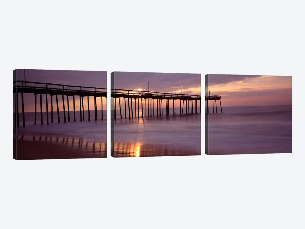 Cloudy Sunset Over A Pier, Ocean City, Worcester County, Maryland, USA by Panoramic Images 3-piece Art Print