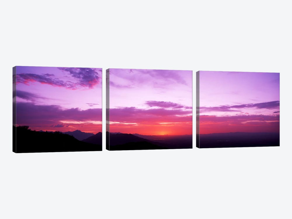 Clouds over mountains, Sierra Estrella Mountains, Phoenix, Arizona, USA by Panoramic Images 3-piece Canvas Print