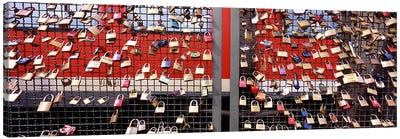 Locks of Love on a fence, Hohenzollern Bridge, Cologne, North Rhine Westphalia, Germany Canvas Art Print