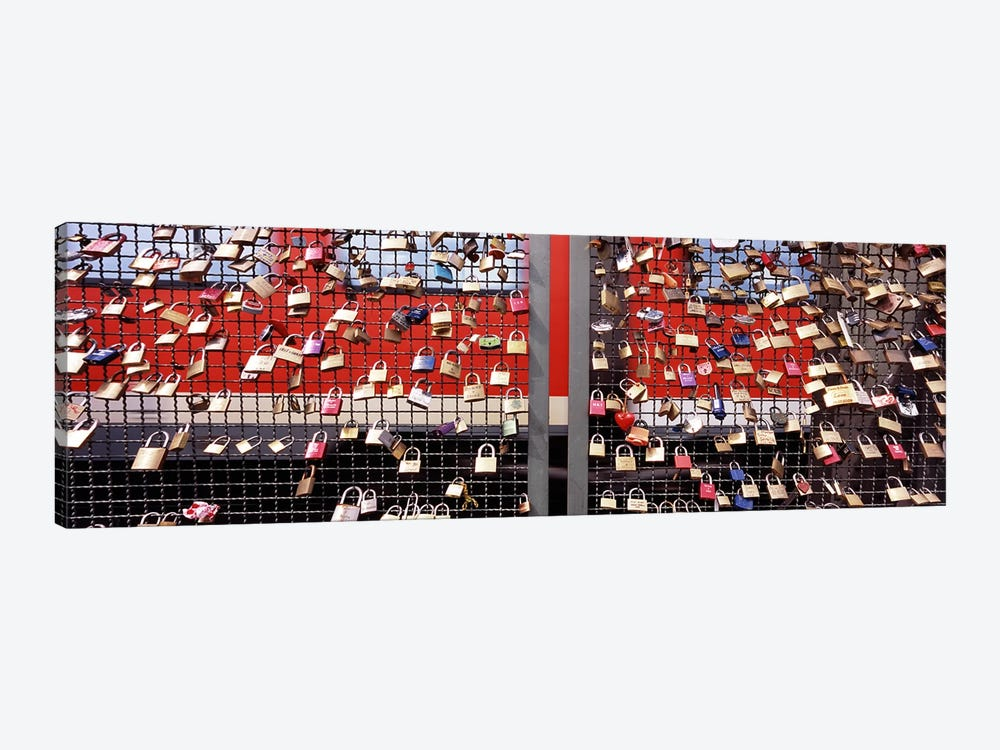 Locks of Love on a fence, Hohenzollern Bridge, Cologne, North Rhine Westphalia, Germany by Panoramic Images 1-piece Canvas Wall Art