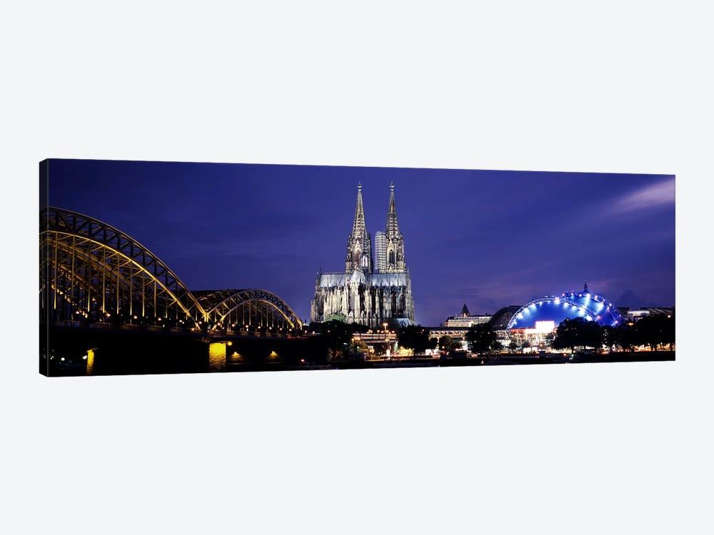 City at duskMusical Dome, Cologne Cathedral, Hohenzollern Bridge, Rhine River, Cologne, North Rhine Westphalia, Germany by Panoramic Images 1-piece Art Print